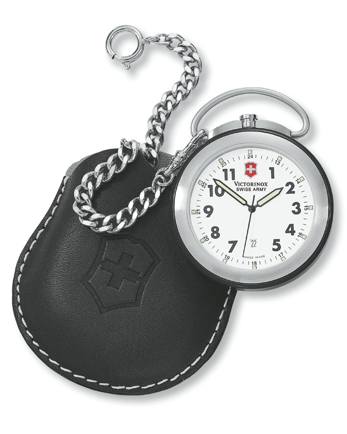 victorinox swiss army pocket with chain and leather pouch