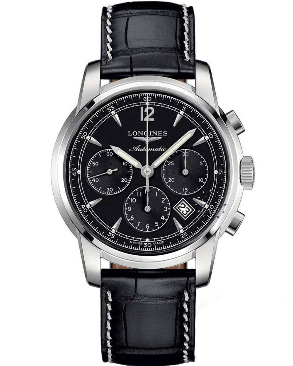 Longines the longines saint imier collection black leather strap for Longines leather strap