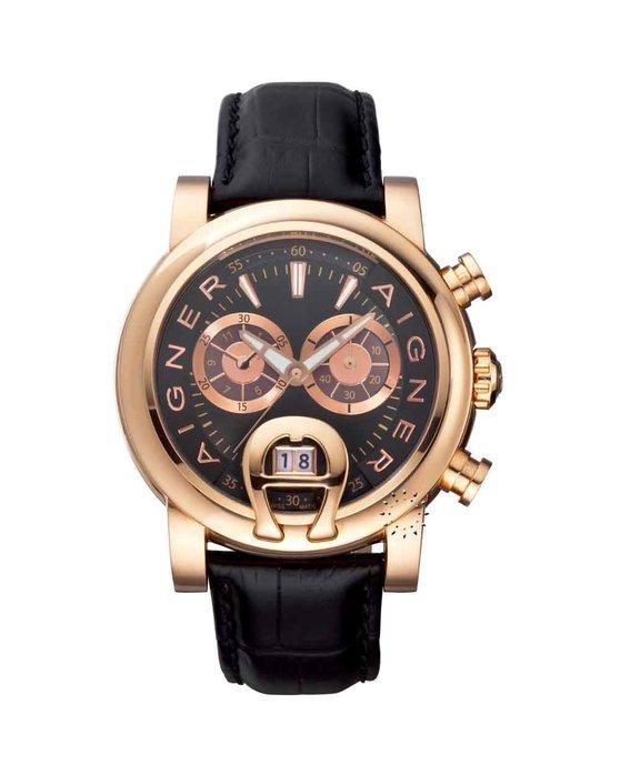 Watches Aigner Bari Aigner Bari Chronograph Black Leather Strap